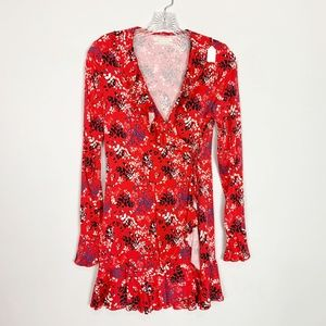 Urban Outfitters red floral wrap front dress small